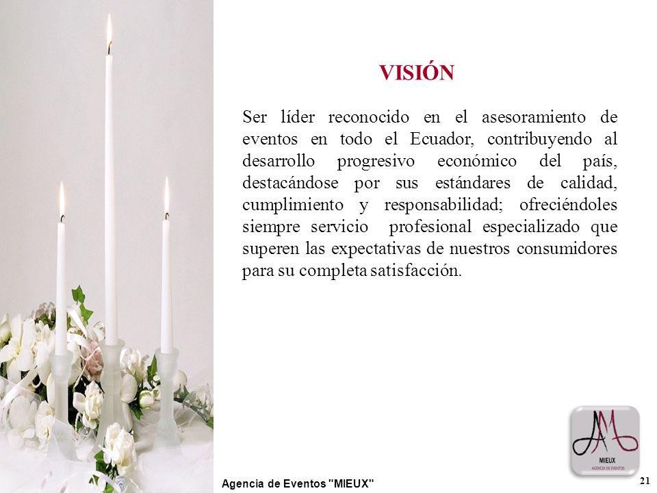 VISIÓN Ser líder reconocido en el asesoramiento de eventos en todo el Ecuador, contribuyendo al desarrollo progresivo económico del país, destacándose