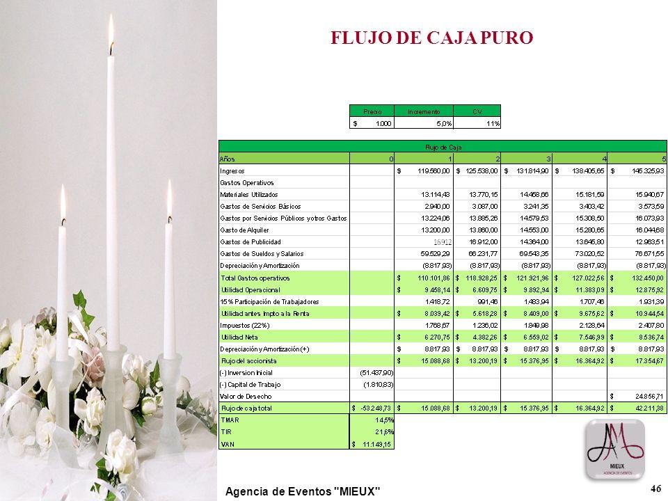 FLUJO DE CAJA PURO 46 Agencia de Eventos