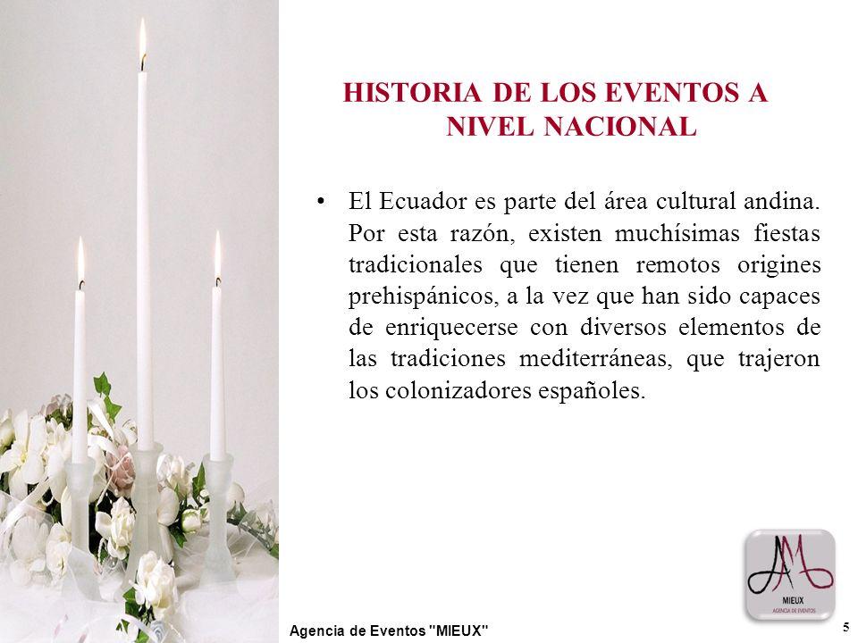 HISTORIA DE LOS EVENTOS A NIVEL NACIONAL El Ecuador es parte del área cultural andina. Por esta razón, existen muchísimas fiestas tradicionales que ti