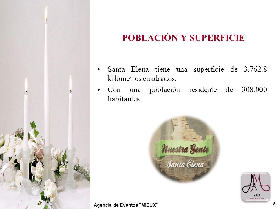 POBLACIÓN Y SUPERFICIE Santa Elena tiene una superficie de 3,762.8 kilómetros cuadrados. Con una población residente de 308.000 habitantes. 8 Agencia