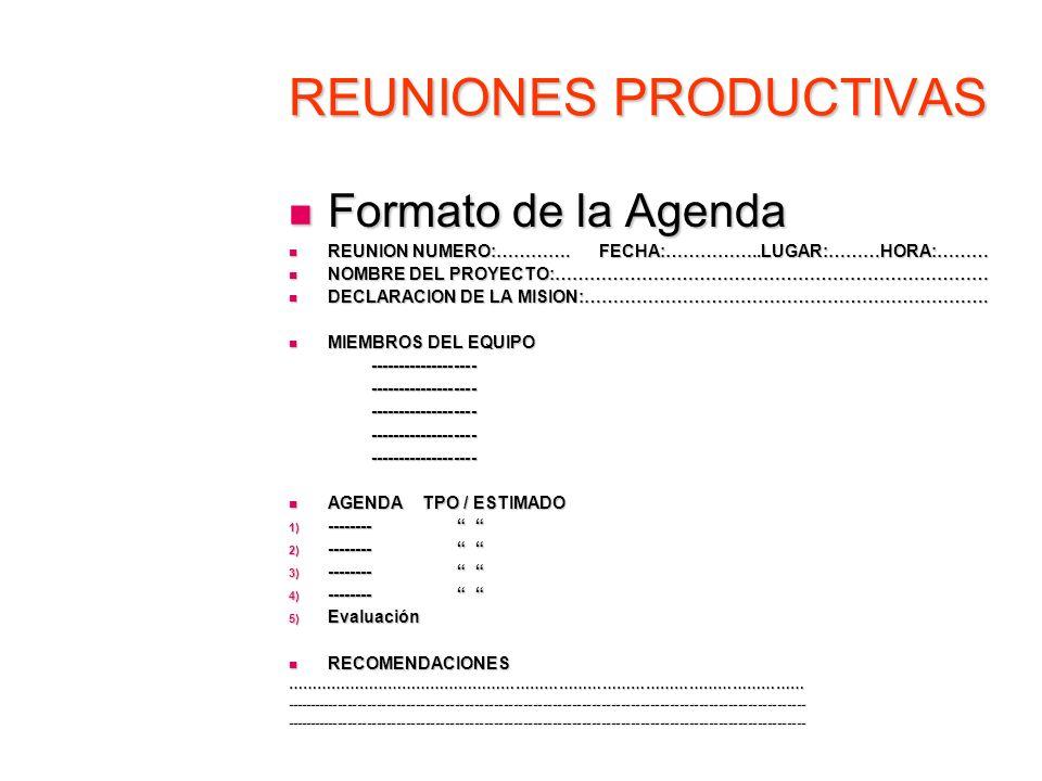 REUNIONES PRODUCTIVAS Formato de la Agenda Formato de la Agenda REUNION NUMERO:…………. FECHA:……………..LUGAR:………HORA:……… REUNION NUMERO:…………. FECHA:……………..