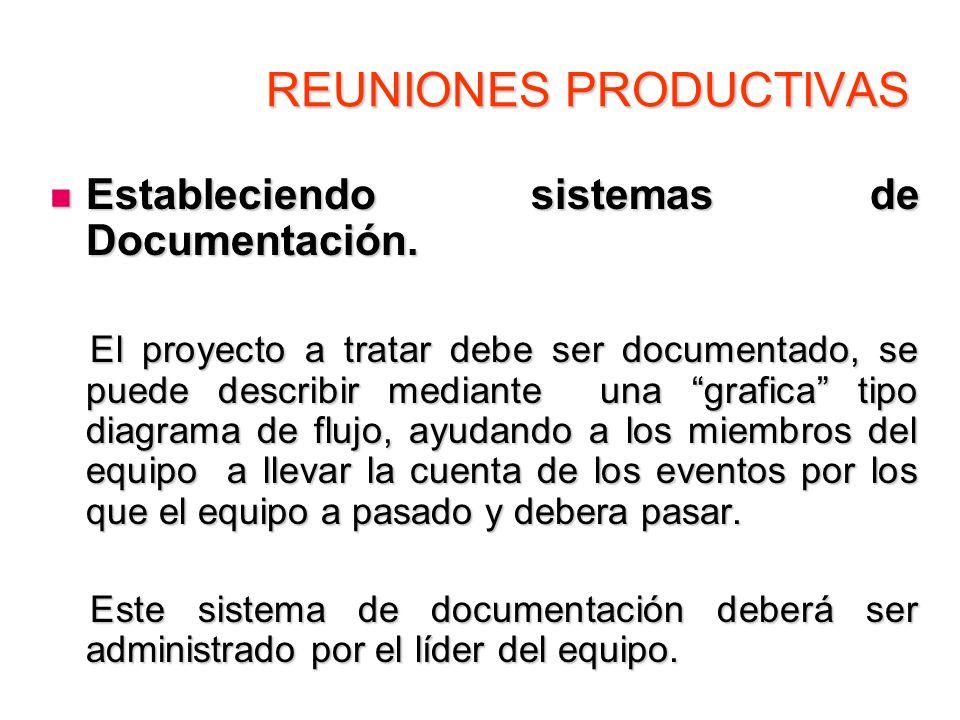 REUNIONES PRODUCTIVAS Estableciendo sistemas de Documentación. Estableciendo sistemas de Documentación. El proyecto a tratar debe ser documentado, se