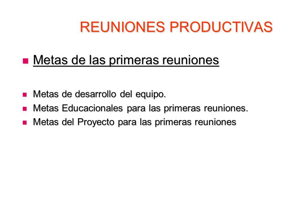 REUNIONES PRODUCTIVAS Metas de las primeras reuniones Metas de las primeras reuniones Metas de desarrollo del equipo. Metas de desarrollo del equipo.