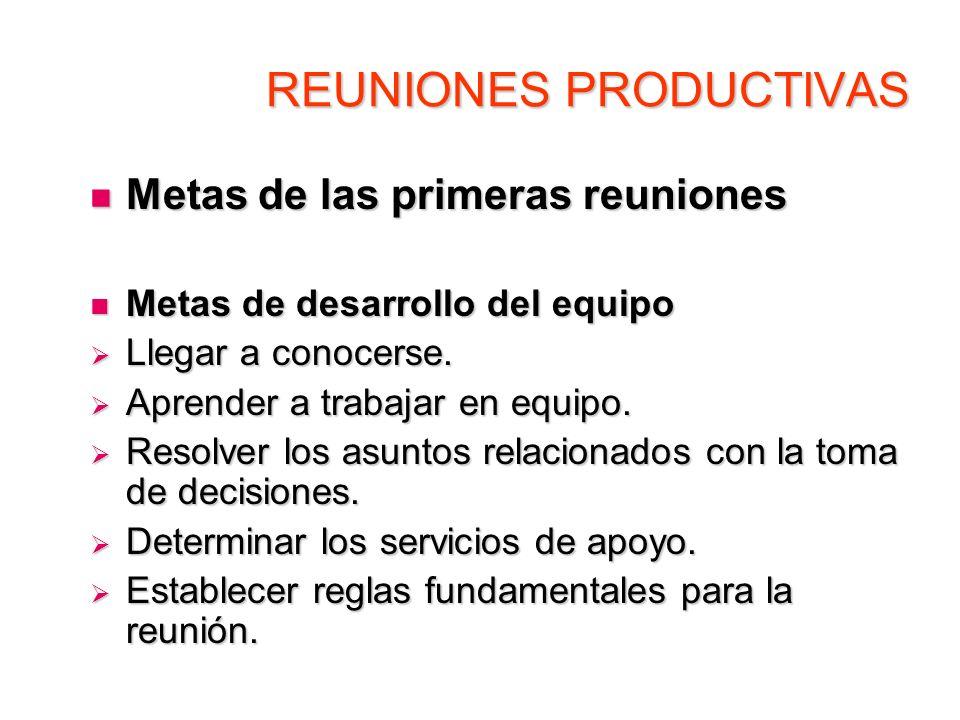 REUNIONES PRODUCTIVAS Metas de las primeras reuniones Metas de las primeras reuniones Metas de desarrollo del equipo Metas de desarrollo del equipo Ll