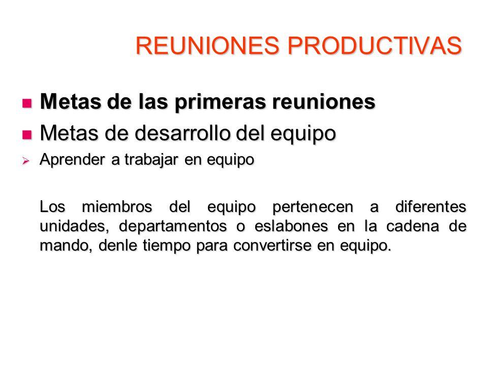 REUNIONES PRODUCTIVAS Metas de las primeras reuniones Metas de las primeras reuniones Metas de desarrollo del equipo Metas de desarrollo del equipo Ap