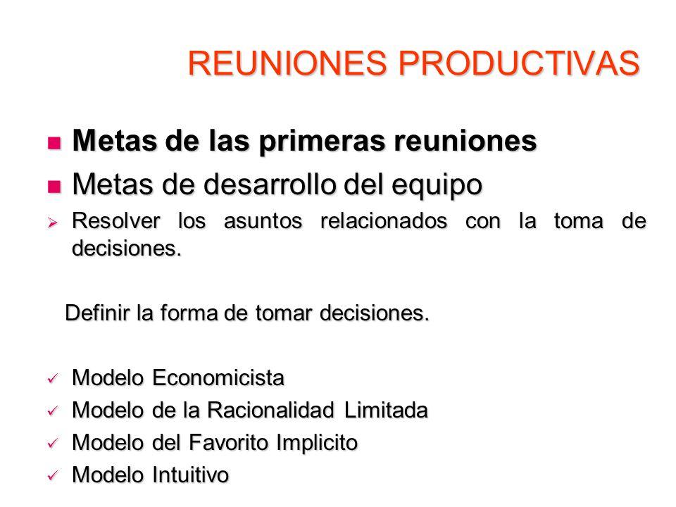 REUNIONES PRODUCTIVAS Metas de las primeras reuniones Metas de las primeras reuniones Metas de desarrollo del equipo Metas de desarrollo del equipo Re