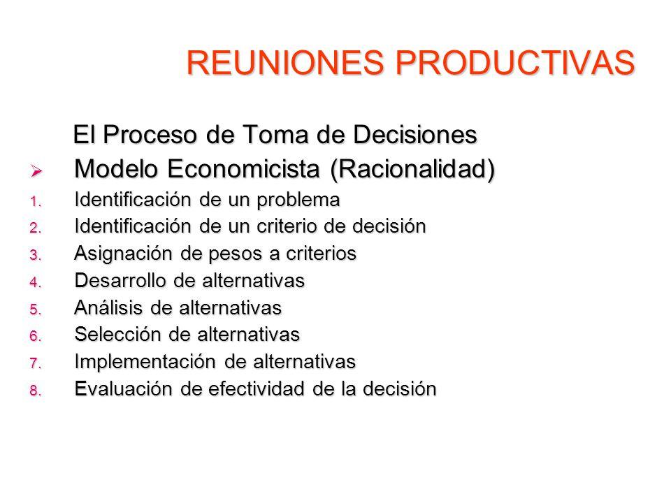 REUNIONES PRODUCTIVAS El Proceso de Toma de Decisiones El Proceso de Toma de Decisiones Modelo Economicista (Racionalidad) Modelo Economicista (Racion