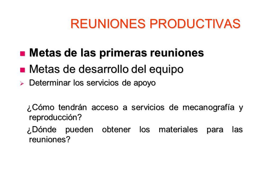 REUNIONES PRODUCTIVAS Metas de las primeras reuniones Metas de las primeras reuniones Metas de desarrollo del equipo Metas de desarrollo del equipo De