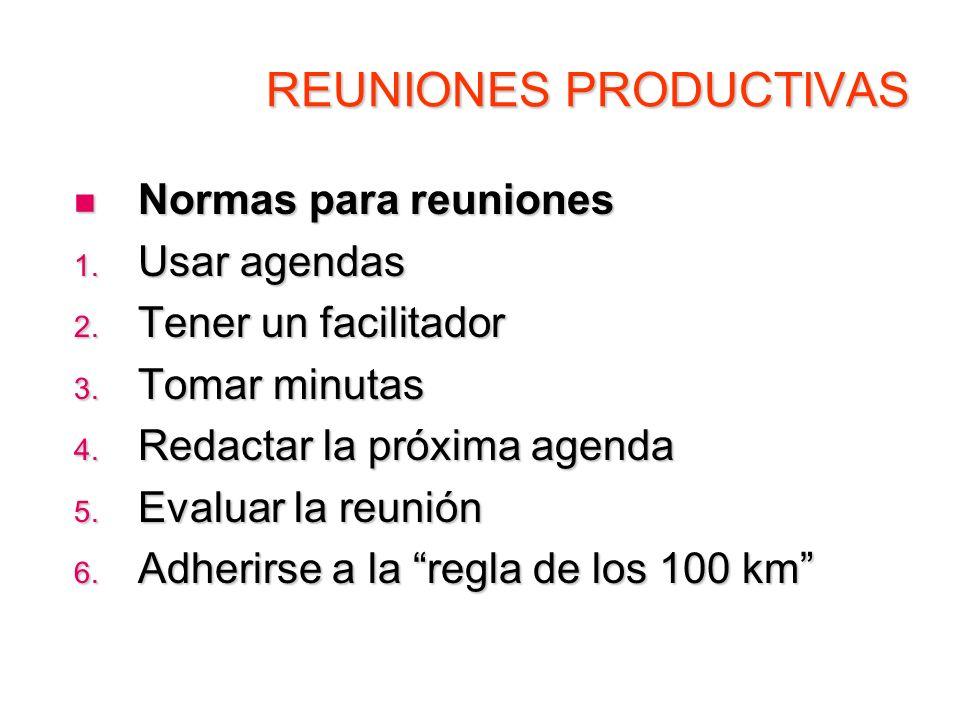REUNIONES PRODUCTIVAS Normas para reuniones Normas para reuniones 1. Usar agendas 2. Tener un facilitador 3. Tomar minutas 4. Redactar la próxima agen
