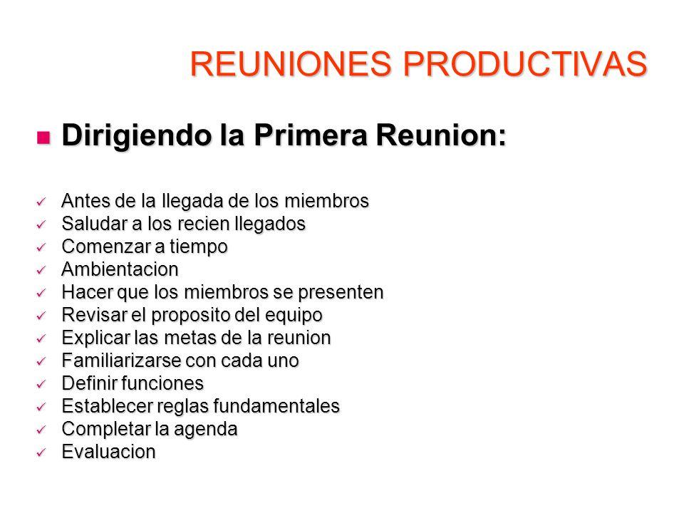 REUNIONES PRODUCTIVAS Dirigiendo la Primera Reunion: Dirigiendo la Primera Reunion: Antes de la llegada de los miembros Antes de la llegada de los mie