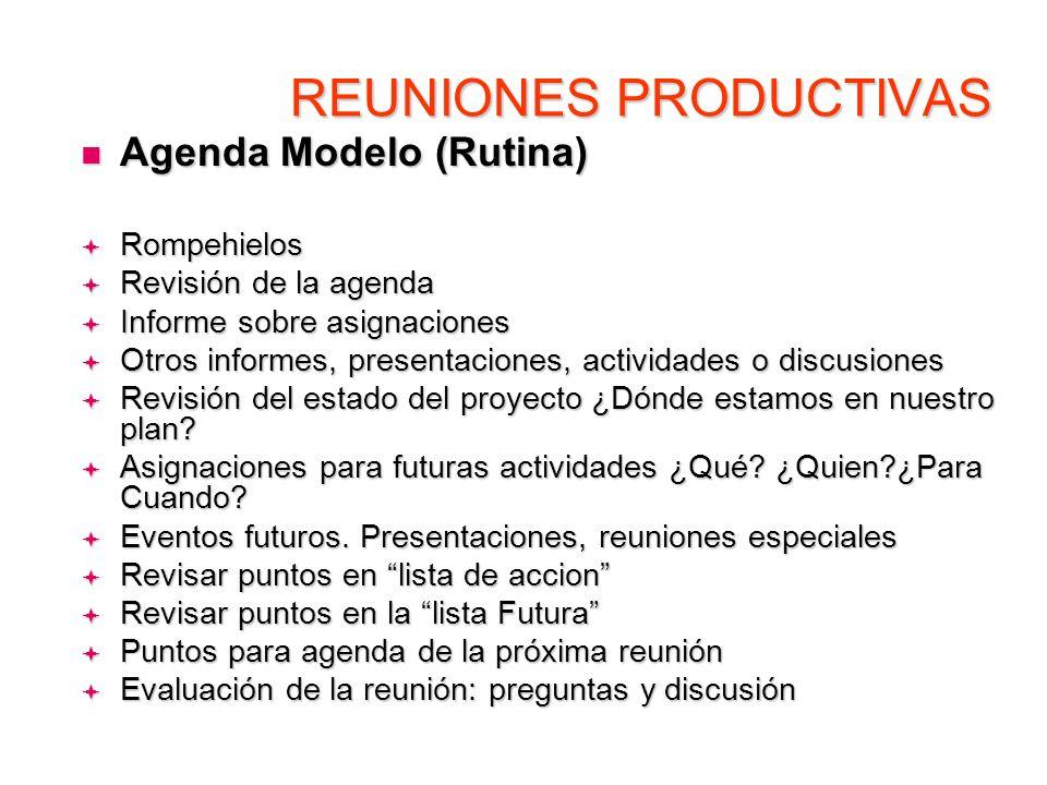 REUNIONES PRODUCTIVAS Agenda Modelo (Rutina) Agenda Modelo (Rutina) Rompehielos Rompehielos Revisión de la agenda Revisión de la agenda Informe sobre