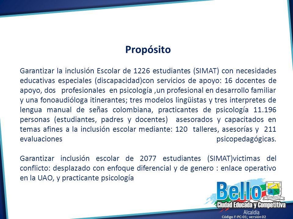 Código F-PC-01; versión 02 Propósito Garantizar la inclusión Escolar de 1226 estudiantes (SIMAT) con necesidades educativas especiales (discapacidad)c