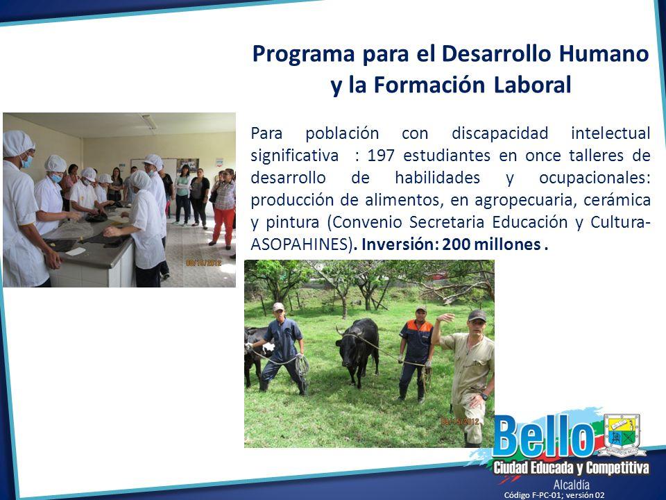 Código F-PC-01; versión 02 Programa para el Desarrollo Humano y la Formación Laboral Para población con discapacidad intelectual significativa : 197 e