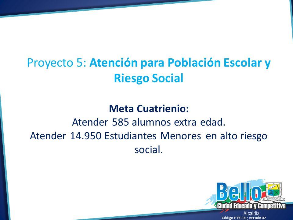 Código F-PC-01; versión 02 Proyecto 5: Atención para Población Escolar y Riesgo Social Meta Cuatrienio: Atender 585 alumnos extra edad. Atender 14.950