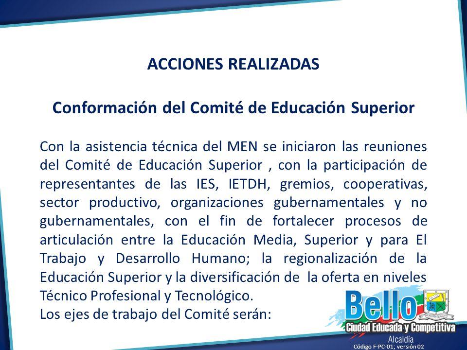 Código F-PC-01; versión 02 ACCIONES REALIZADAS Conformación del Comité de Educación Superior Con la asistencia técnica del MEN se iniciaron las reunio