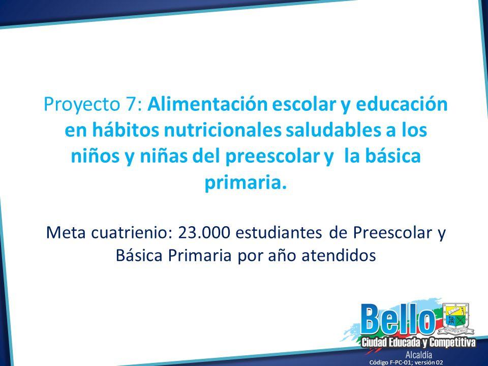 Código F-PC-01; versión 02 Proyecto 7: Alimentación escolar y educación en hábitos nutricionales saludables a los niños y niñas del preescolar y la bá