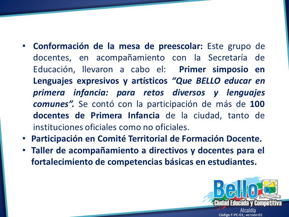 Código F-PC-01; versión 02 Conformación de la mesa de preescolar: Este grupo de docentes, en acompañamiento con la Secretaría de Educación, llevaron a