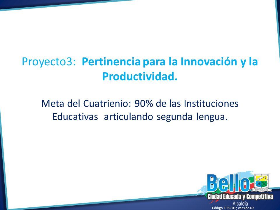 Código F-PC-01; versión 02 Proyecto3: Pertinencia para la Innovación y la Productividad. Meta del Cuatrienio: 90% de las Instituciones Educativas arti