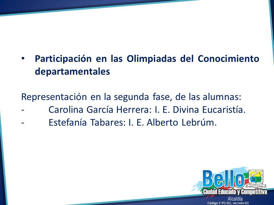 Código F-PC-01; versión 02 Participación en las Olimpiadas del Conocimiento departamentales Representación en la segunda fase, de las alumnas: -Caroli