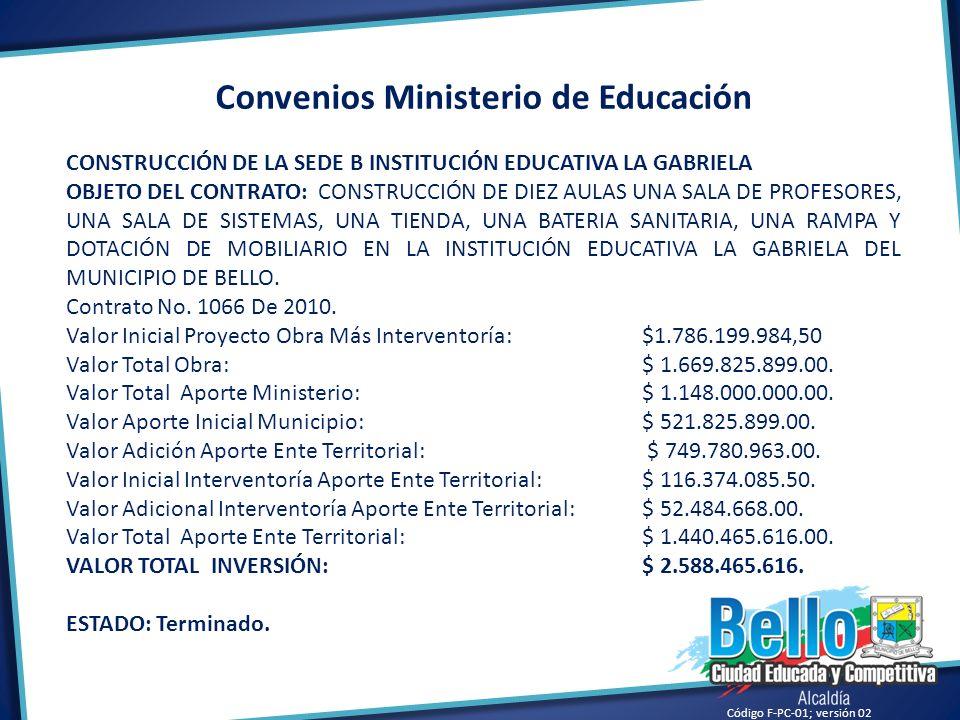 Código F-PC-01; versión 02 Convenios Ministerio de Educación CONSTRUCCIÓN DE LA SEDE B INSTITUCIÓN EDUCATIVA LA GABRIELA OBJETO DEL CONTRATO: CONSTRUC