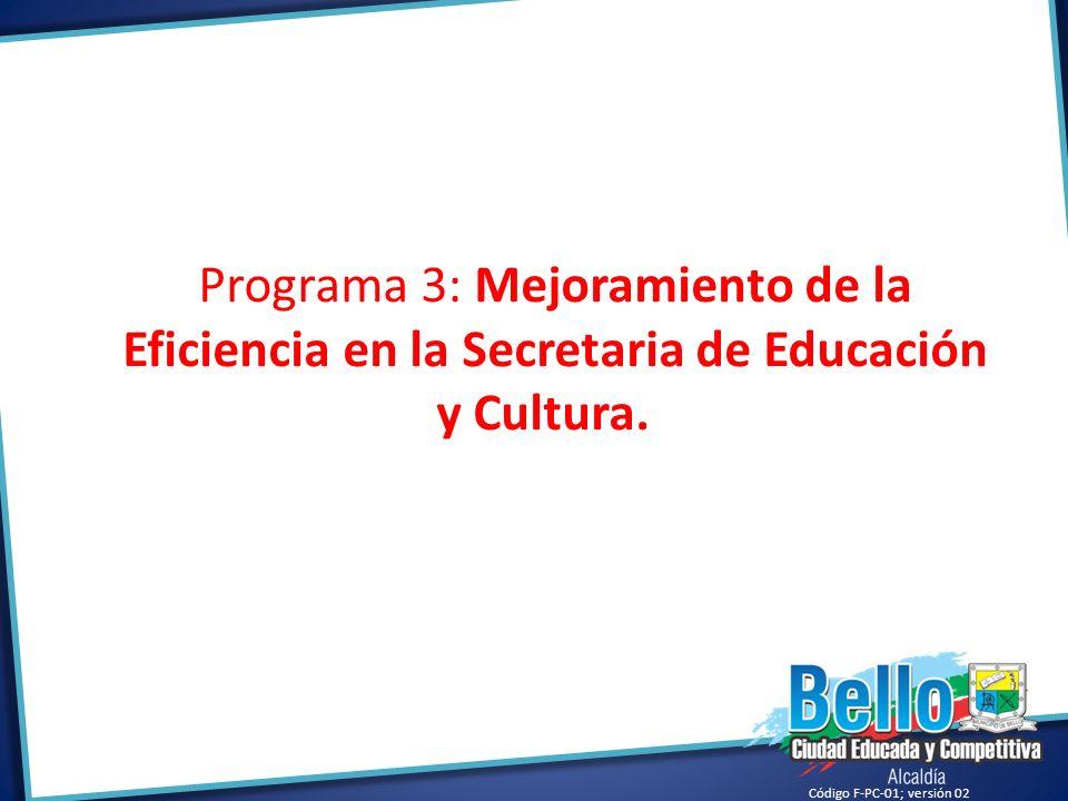 Código F-PC-01; versión 02 Programa 3: Mejoramiento de la Eficiencia en la Secretaria de Educación y Cultura.