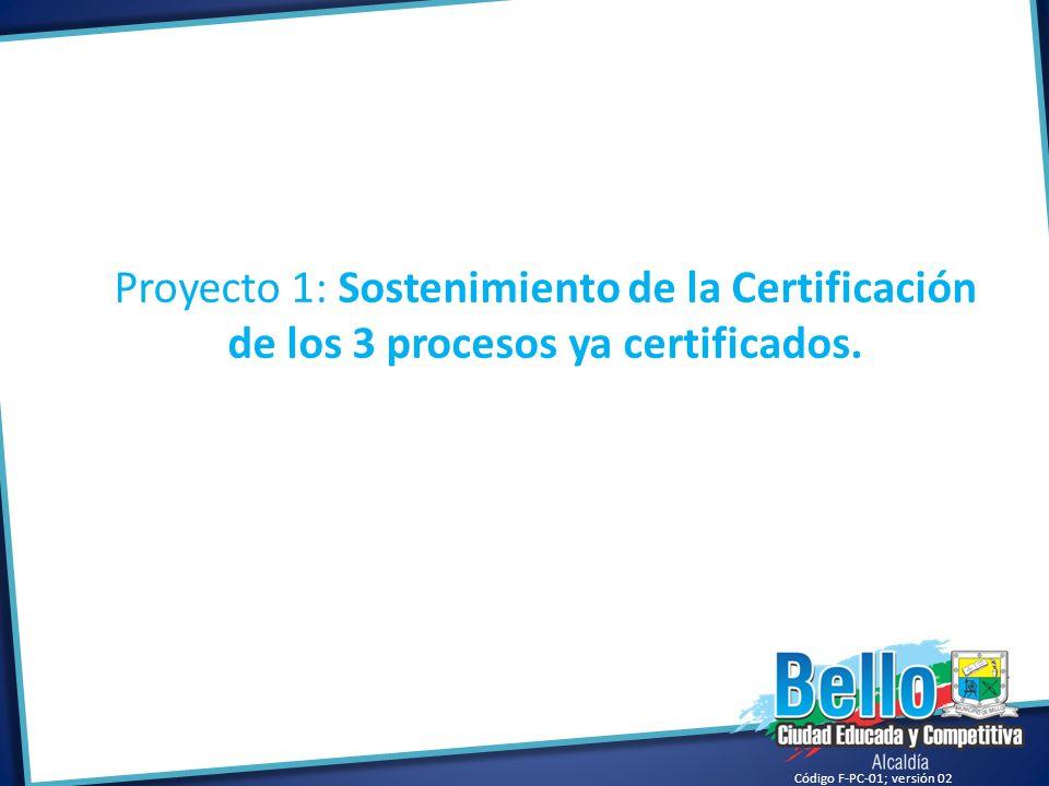 Código F-PC-01; versión 02 Proyecto 1: Sostenimiento de la Certificación de los 3 procesos ya certificados.