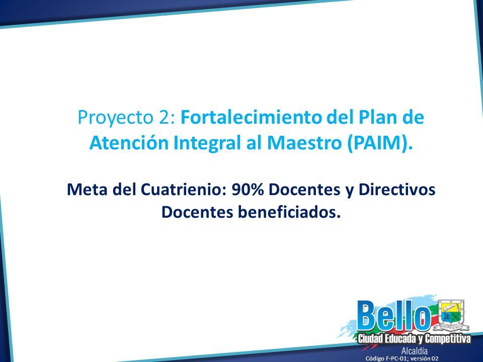 Código F-PC-01; versión 02 Proyecto 2: Fortalecimiento del Plan de Atención Integral al Maestro (PAIM). Meta del Cuatrienio: 90% Docentes y Directivos