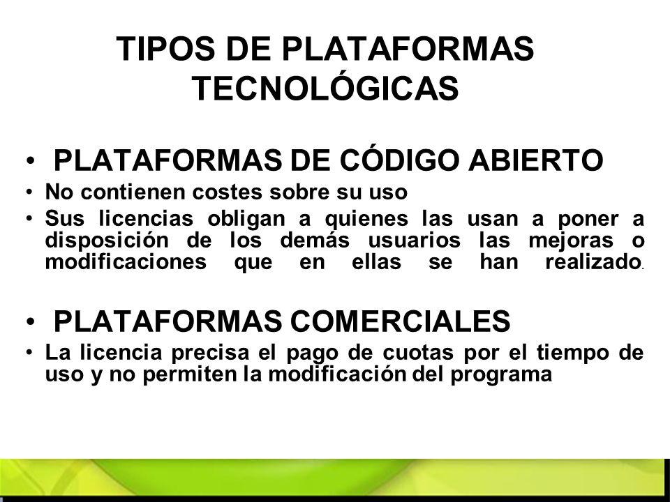TIPOS DE PLATAFORMAS TECNOLÓGICAS PLATAFORMAS DE CÓDIGO ABIERTO No contienen costes sobre su uso Sus licencias obligan a quienes las usan a poner a di