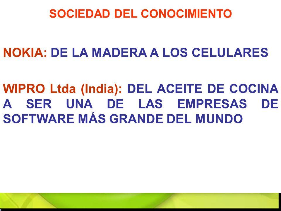 NOKIA: DE LA MADERA A LOS CELULARES WIPRO Ltda (India): DEL ACEITE DE COCINA A SER UNA DE LAS EMPRESAS DE SOFTWARE MÁS GRANDE DEL MUNDO SOCIEDAD DEL C