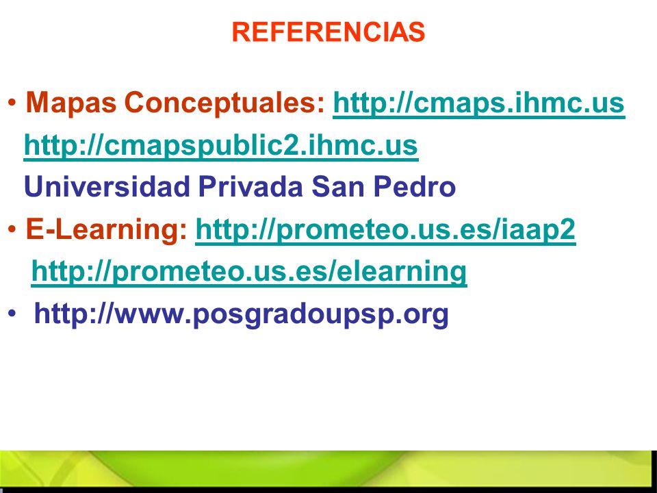 Mapas Conceptuales: http://cmaps.ihmc.ushttp://cmaps.ihmc.us http://cmapspublic2.ihmc.us Universidad Privada San Pedro E-Learning: http://prometeo.us.