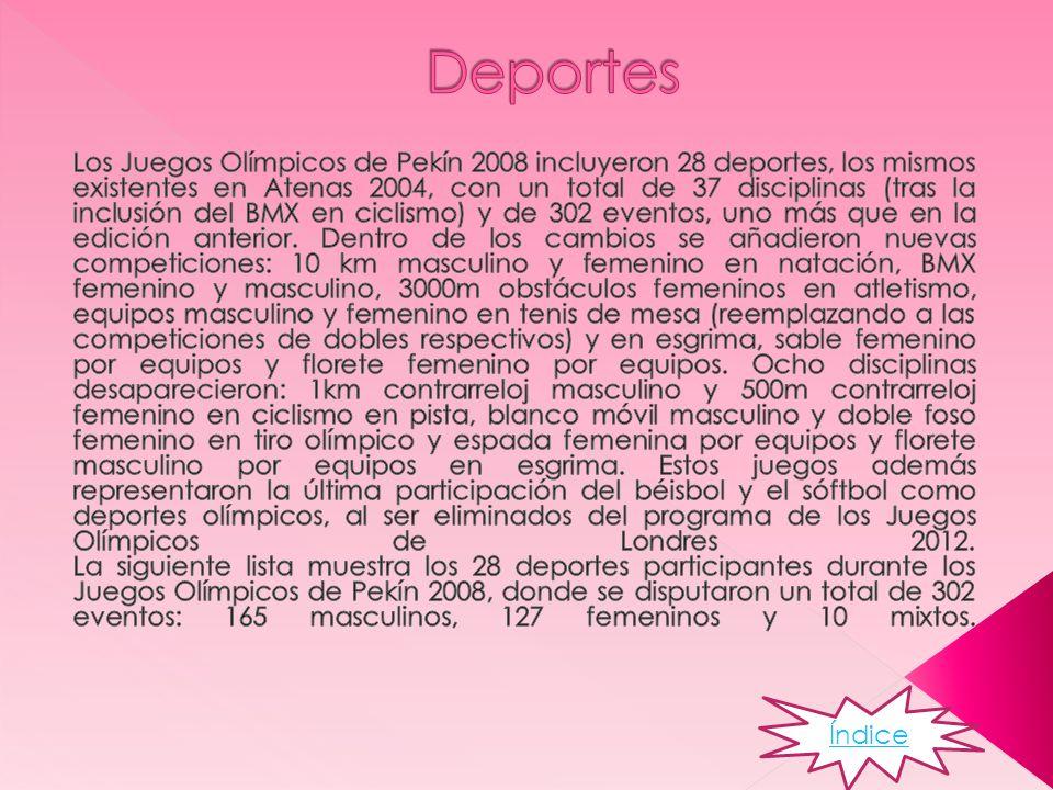 Los juegos olímpicos empezaron el 8 de agosto de 2008 participando 204 países y 10.902 atletas la clausura y la apertura fue en el Estadio Nacional de Pekín País: Pekín (Beijing,) Rep.
