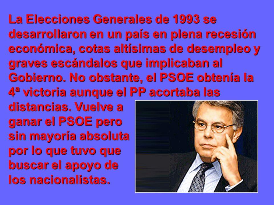 La Elecciones Generales de 1993 se desarrollaron en un país en plena recesión económica, cotas altísimas de desempleo y graves escándalos que implicaban al Gobierno.