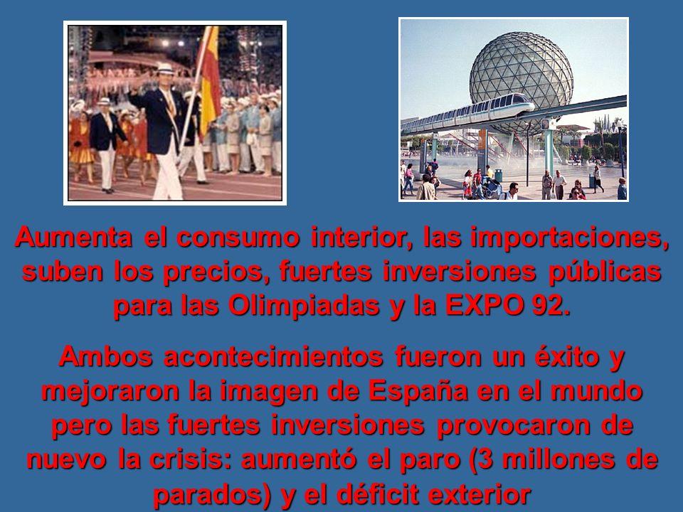 Aumenta el consumo interior, las importaciones, suben los precios, fuertes inversiones públicas para las Olimpiadas y la EXPO 92.