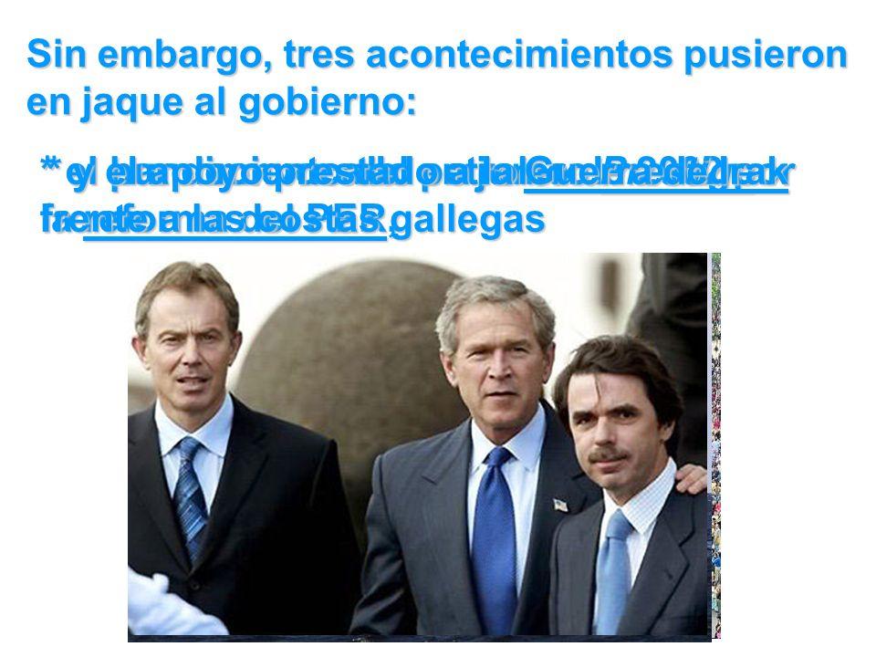 Sin embargo, tres acontecimientos pusieron en jaque al gobierno: * el paro convocado en junio de 2002 por la reforma del PER, * el hundimiento del petrolero Prestige frente a las costas gallegas * y el apoyo prestado a la Guerra de Irak