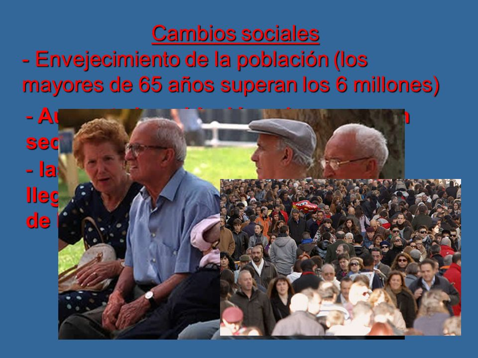 Cambios sociales - Envejecimiento de la población (los mayores de 65 años superan los 6 millones) - Aumenta la población urbana con un sector servicios mayoritario - las clases medias llegan a ser el 62% de la población