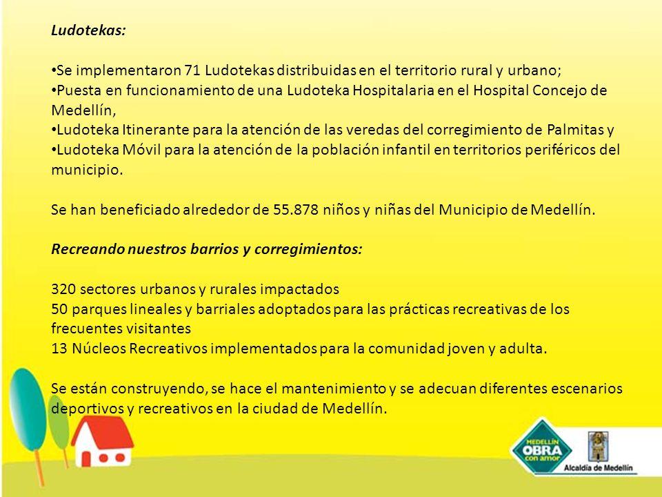 Ludotekas: Se implementaron 71 Ludotekas distribuidas en el territorio rural y urbano; Puesta en funcionamiento de una Ludoteka Hospitalaria en el Hos