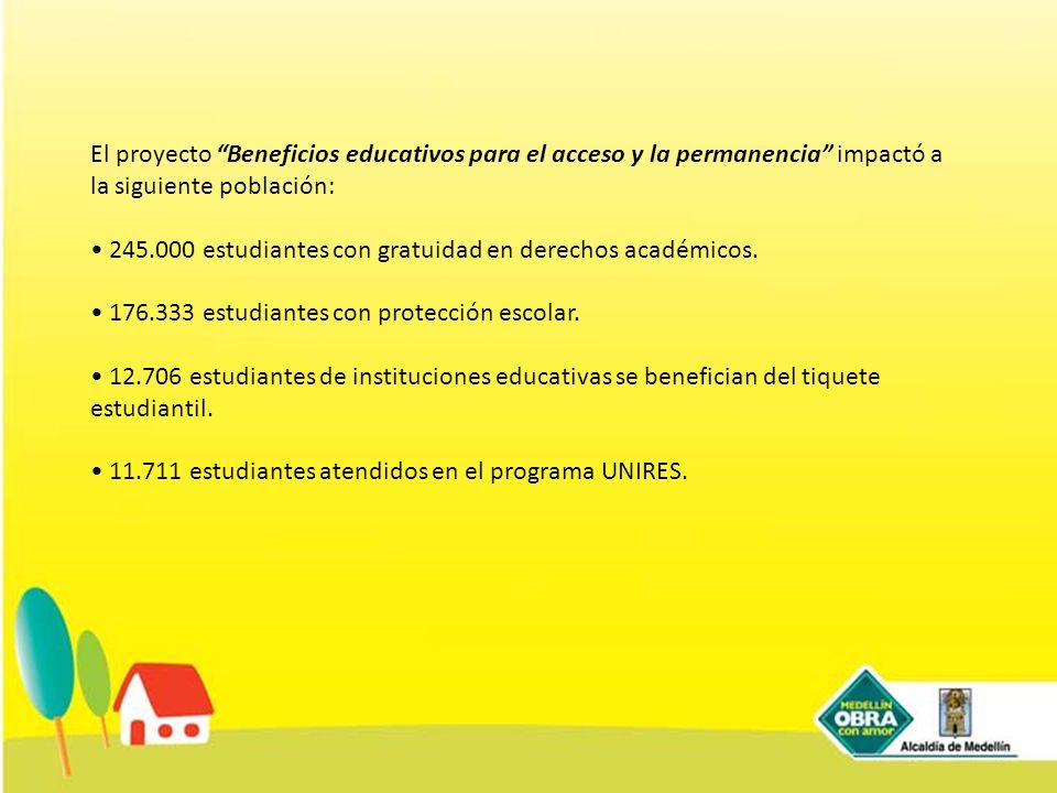 El proyecto Beneficios educativos para el acceso y la permanencia impactó a la siguiente población: 245.000 estudiantes con gratuidad en derechos acad