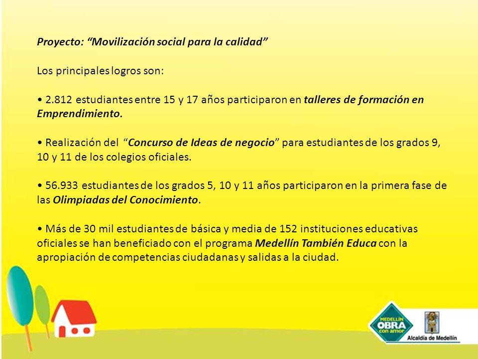Proyecto: Movilización social para la calidad Los principales logros son: 2.812 estudiantes entre 15 y 17 años participaron en talleres de formación e