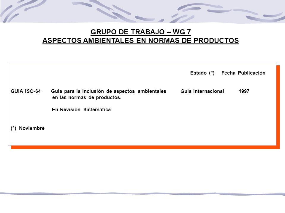 GRUPO DE TRABAJO – WG 7 ASPECTOS AMBIENTALES EN NORMAS DE PRODUCTOS Estado (*) Fecha Publicación GUIA ISO-64 Guía para la inclusión de aspectos ambientales Guía Internacional 1997 en las normas de productos.