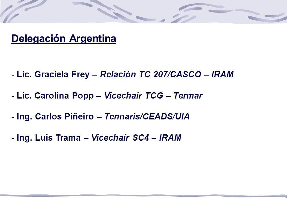 Delegación Argentina - Lic.Graciela Frey – Relación TC 207/CASCO – IRAM - Lic.