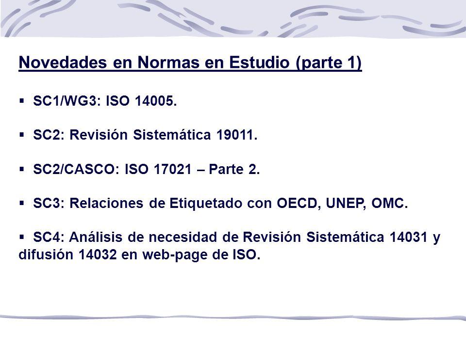 Novedades en Normas en Estudio (parte 1) SC1/WG3: ISO 14005.