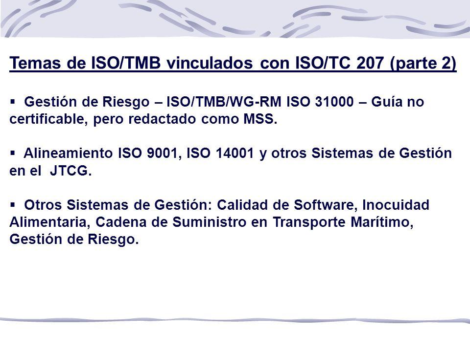 Temas de ISO/TMB vinculados con ISO/TC 207 (parte 2) Gestión de Riesgo – ISO/TMB/WG-RM ISO 31000 – Guía no certificable, pero redactado como MSS.