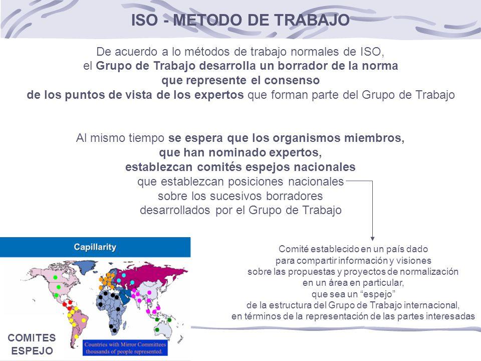 ISO - METODO DE TRABAJO De acuerdo a lo métodos de trabajo normales de ISO, el Grupo de Trabajo desarrolla un borrador de la norma que represente el consenso de los puntos de vista de los expertos que forman parte del Grupo de Trabajo Al mismo tiempo se espera que los organismos miembros, que han nominado expertos, establezcan comités espejos nacionales que establezcan posiciones nacionales sobre los sucesivos borradores desarrollados por el Grupo de Trabajo Comité establecido en un país dado para compartir información y visiones sobre las propuestas y proyectos de normalización en un área en particular, que sea un espejo de la estructura del Grupo de Trabajo internacional, en términos de la representación de las partes interesadas COMITES ESPEJO
