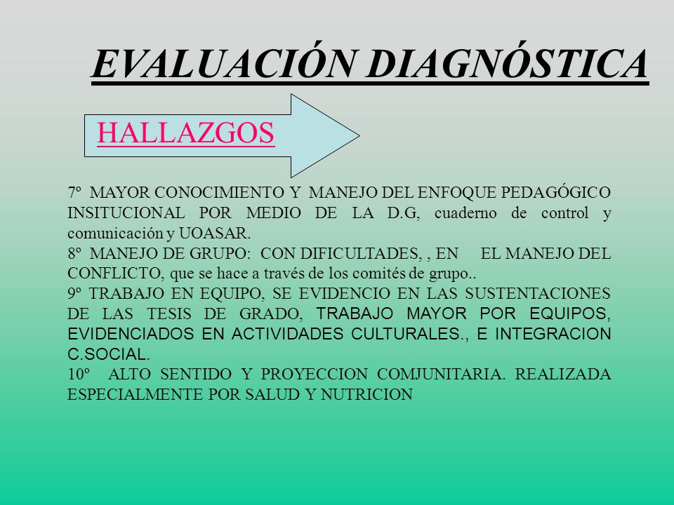 EVALUACIÓN DIAGNÓSTICA HALLAZGOS: 5º FORMACIÓN y BUENOS RESULTADOS PARA PRÁCTICA EVALUATIVA CON LOS PROYECTO SIEE, MARCHAS, LA AUOTEVALUACION DE COMPO
