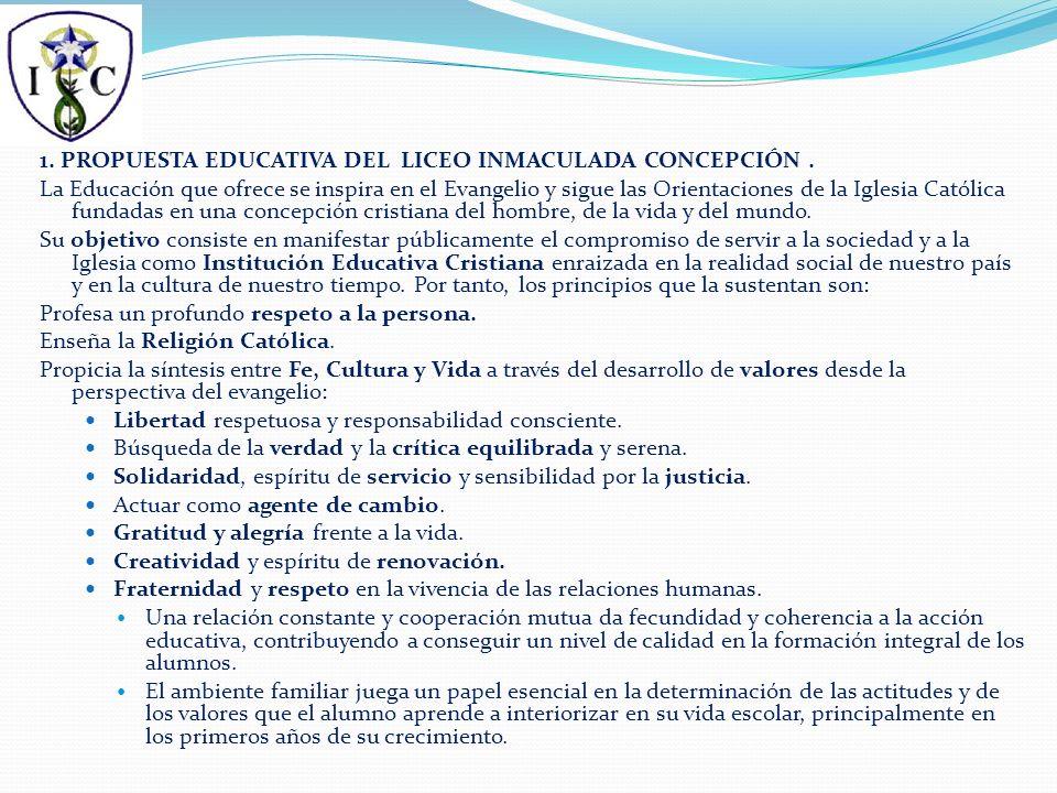 1. PROPUESTA EDUCATIVA DEL LICEO INMACULADA CONCEPCIÓN.