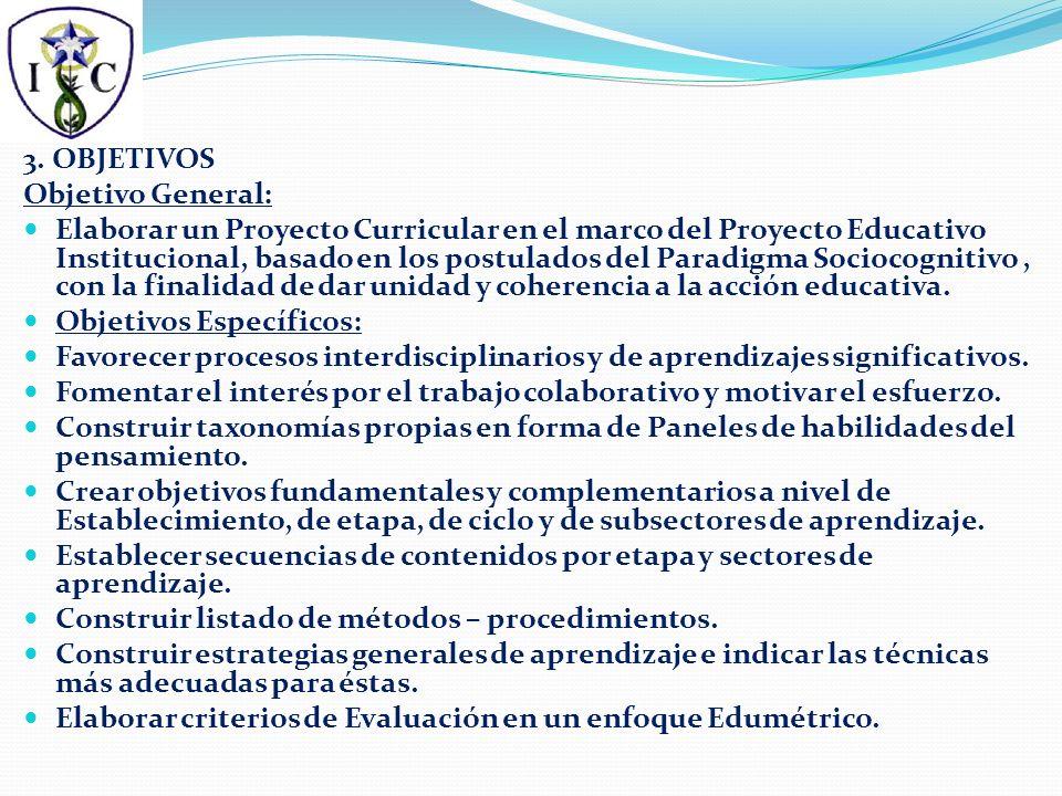 3. OBJETIVOS Objetivo General: Elaborar un Proyecto Curricular en el marco del Proyecto Educativo Institucional, basado en los postulados del Paradigm