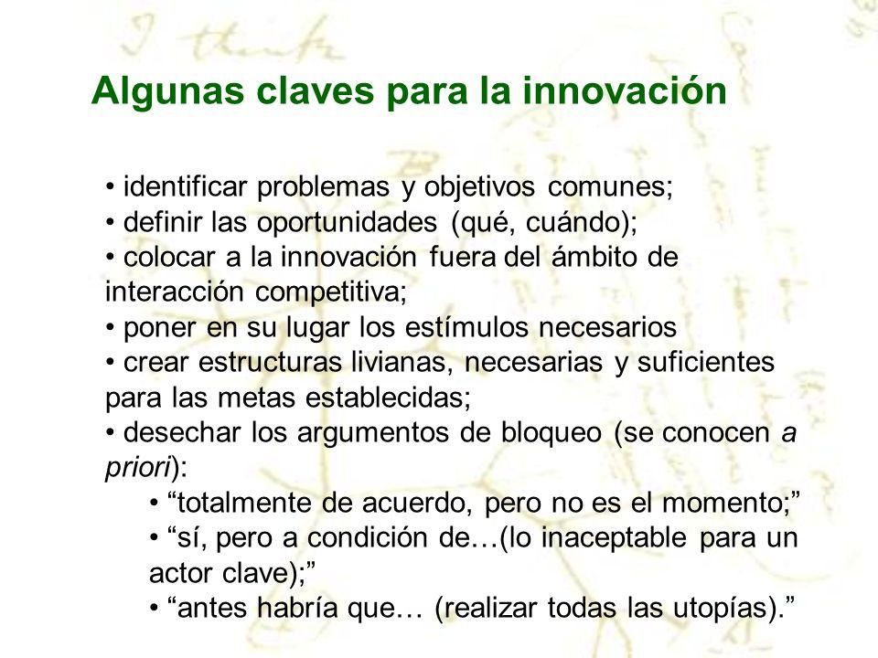 Algunas claves para la innovación identificar problemas y objetivos comunes; definir las oportunidades (qué, cuándo); colocar a la innovación fuera de