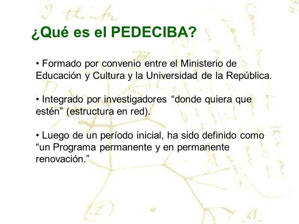 ¿Qué es el PEDECIBA? Formado por convenio entre el Ministerio de Educación y Cultura y la Universidad de la República. Integrado por investigadores do