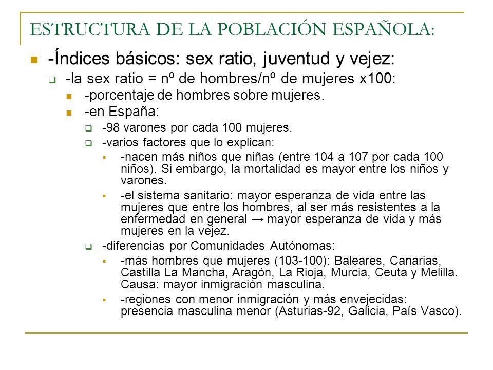 ESTRUCTURA DE LA POBLACIÓN ESPAÑOLA: -Índices básicos: sex ratio, juventud y vejez: -la sex ratio = nº de hombres/nº de mujeres x100: -porcentaje de h