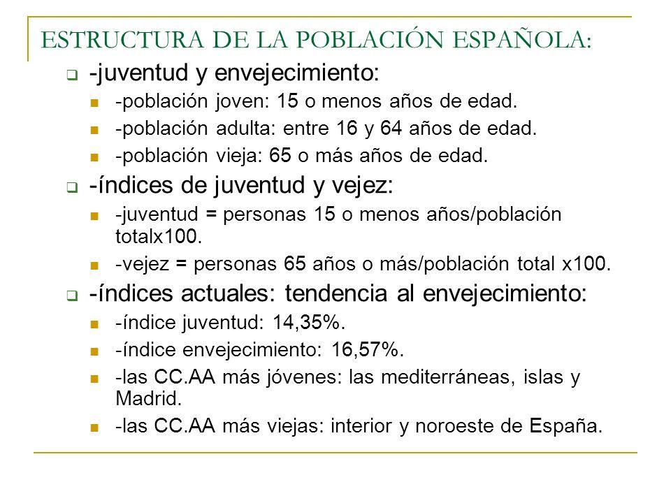 ESTRUCTURA DE LA POBLACIÓN ESPAÑOLA: -juventud y envejecimiento: -población joven: 15 o menos años de edad. -población adulta: entre 16 y 64 años de e